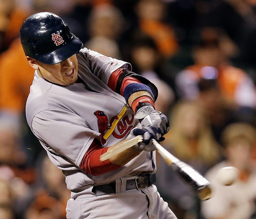 St. Louis Cardinals' Allen Craig breaks his bat as he grounds out during the eighth inning of Game 1 of baseball's National League championship series against the San Francisco Giants Sunday, Oct. 14, 2012, in San Francisco. (AP Photo/David J. Phillip)