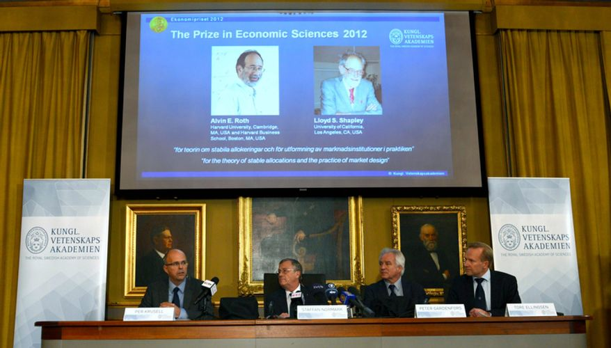 "Per Krusell (from left), Staffan Normark, Peter Gardenfors and Tore Ellingsen of the Swedish Royal Academy of Sciences announce the winners of the Nobel Memorial Prize in Economic Sciences in Stockholm on Monday, Oct. 15, 2012. Americans Alvin Roth of Harvard University and Lloyd Shapley of the University of California at Los Angeles were cited for ""the theory of stable allocations and the practice of market design."" (AP Photo/Scanpix Sweden, Henrik Montgomery)"