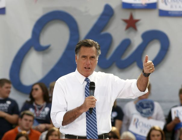 **FILE** Republican presidential candidate Mitt Romney speaks Oct. 13, 2012, in Portsmouth, Ohio. (Associated Press)