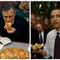 ** FILE ** Mitt Romney (left) takes a bite of pizza while campaigning at Village Pizza in Newport, N.H., Dec. 20, 2011, and then-Sen. Barack Obama takes a bite of pizza at American Dream Pizza in Corvallis, Ore., on March 21, 2008. (Associated Press)