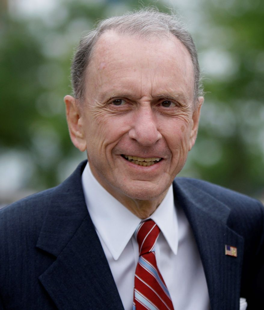 **FILE** Pennsylvania Sen. Arlen Specter arrives May 17, 2010, at Citizens Bank Park in Philadelphia as he campaigns across the state for the Democratic nomination to run for re-election. (Associated Press)