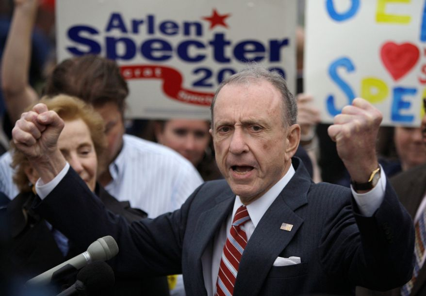 **FILE** Sen. Arlen Specter, Pennsylvania Democrat, speaks May 17, 2010, at the Citizens Bank Park in Philadelphia, as he campaigns across the state for the Democratic nomination to run for re-election. (Associated Press)