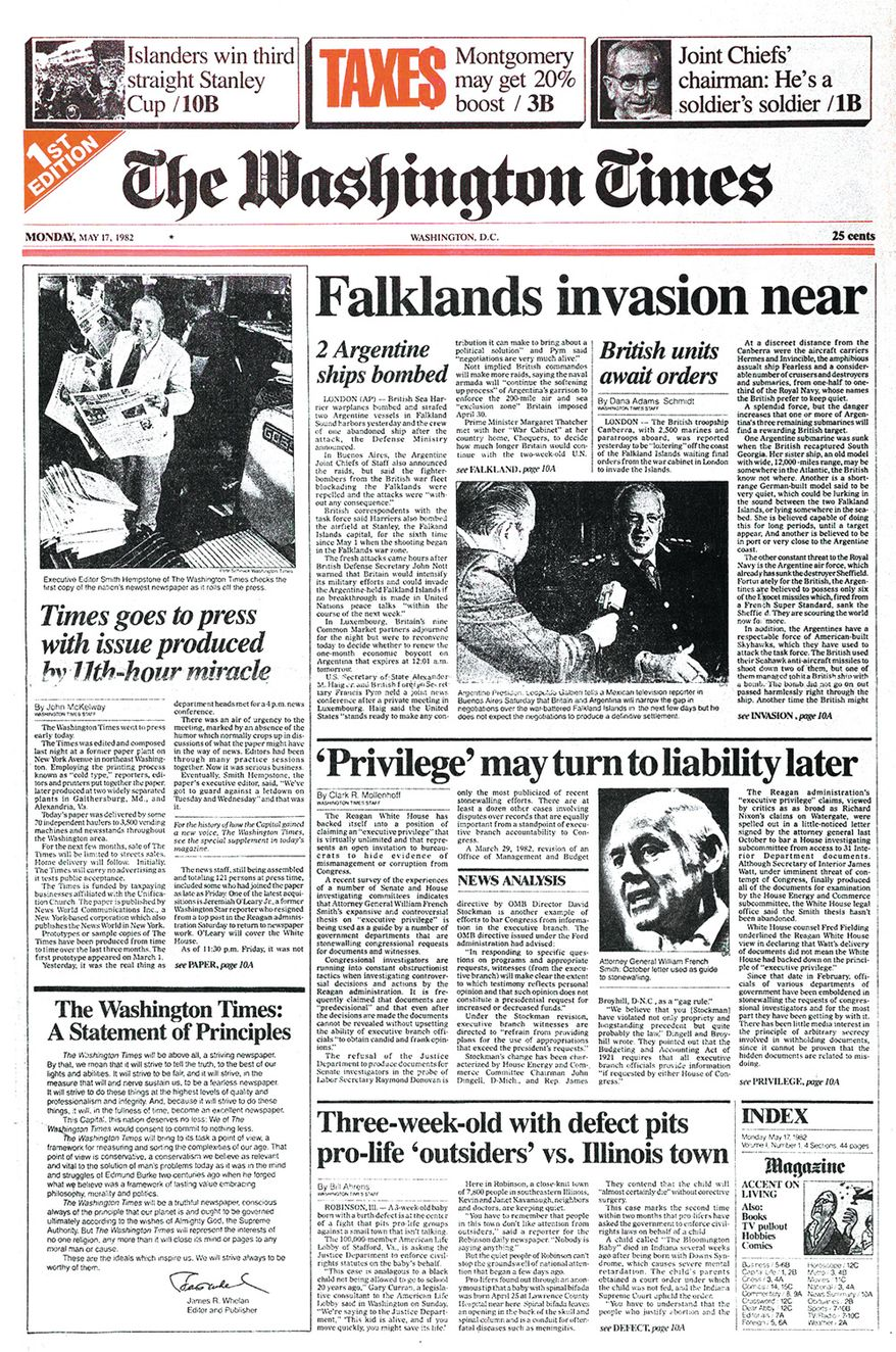 The Washington Times - Page A1 - First Edition - Monday, May 17, 1982