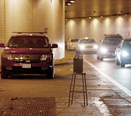 A traffic speed enforcement unit was set up in the Ninth Street tunnel in Northwest on Tuesday. D.C. Council members, citing constituent concerns, are cons