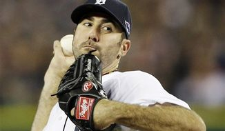 Detroit Tigers' Justin Verlander throws in the second inning during Game 3 of the American League Championship Series against the New York Yankees Tuesday, Oct. 16, 2012, in Detroit. The Tigers won 2-1 to take a 3-0 lead in the series. (AP Photo/Matt Slocum)