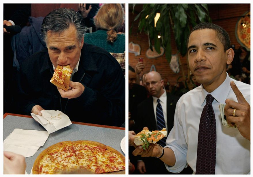 In this combination of file photos, Republican presidential candidate Mitt Romney (left) takes a bite of pizza while campaigning at Village Pizza in Newport, N.H., Dec. 20, 2011, and then-Sen. Barack Obama takes a bite of pizza at American Dream Pizza in Corvallis, Ore., on March 21, 2008. (Associated Press)