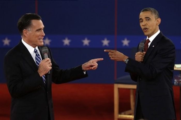 Republican presidential nominee Mitt Romney and President Barack Obama spar during the second presidential debate at Hofstra University, Tuesday, Oct. 16, 2012, in Hempstead, N.Y. (AP Photo/Charlie Neibergall)