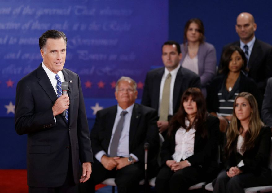 Republican presidential nominee Mitt Romney speaks during the second presidential debate at Hofstra University. (AP Photo/David Goldman)