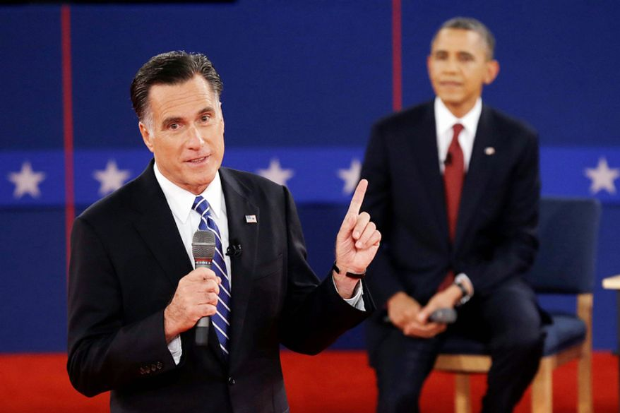 Republican presidential nominee Mitt Romney  answers a question as President Barack Obama listens during the second presidential debate. (AP Photo/Charlie Neibergall)