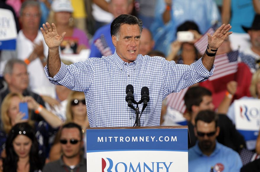 Republican presidential candidate and former Massachusetts Gov. Mitt Romney speaks during a campaign rally, Sunday, Oct. 7, 2012 in Port St. Lucie, Fla. (AP Photo/Lynne Sladky)