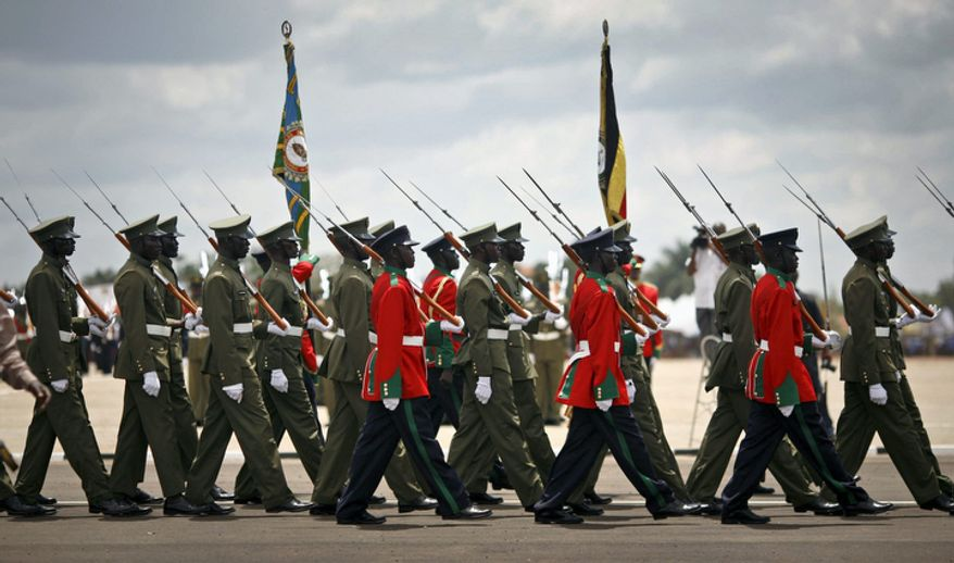 **FILE** The Uganda People's Defence Force marches Oct. 9, 2012, during a ceremony in Kampala, Uganda, to celebrate the 50th anniversary of the country's independence from British rule. (Associated Press)