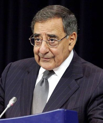 In this photo taken Oct. 10, 2012, Defense Secretary Leon Panetta speaks at NATO headquarters in Brussels. (Associated Press)