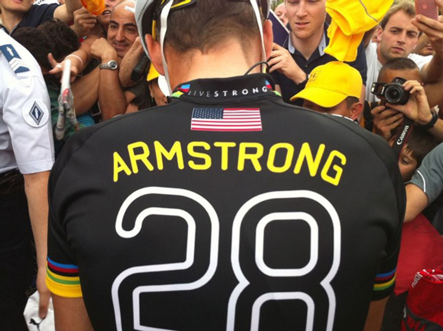 """Lance Armstrong dons controversial """"28"""" kit before the Tour de France segment on Sunday, July 25, 2010. (Team RadioShack/Graham Watson)."""