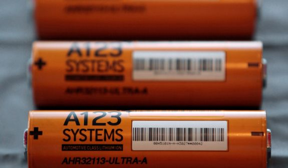 This Thursday, Aug. 6, 2009, file photo, shows A123 Systems Inc.'s high power Nanophospate Lithium Ion Cell for Hybrid Electric Vehicles batteries in Livonia, Mich. Short of cash and hurting from slow sales of electric cars, battery maker A123 Systems Inc. sent its U.S. operations into bankruptcy protection on Tuesday, Oct. 16, 2012, and quickly sold its automotive assets.  The Chapter 11 filing in Delaware came one day after A123 warned that it likely would miss some debt payments and could be headed for court-supervised restructuring. (AP Photo/Paul Sancya, File)