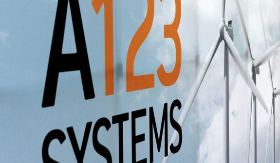 An A123 Systems Inc. logo is seen in a Thursday, Aug. 6, 2010, file photo in Livonia, Mich. A123 Systems says Tuesday, Oct. 16, 2012, that a default on some of its debt is likely and it may be heading for bankruptcy protection. (AP Photo/Paul Sancya, File)