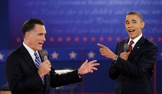 President Obama and Republican presidential candidate Mitt Romney exchange views on Tuesday, Oct. 16, 2012, at Hofstra University in Hempstead, N.Y., during the second presidential debate. (Associated Press)