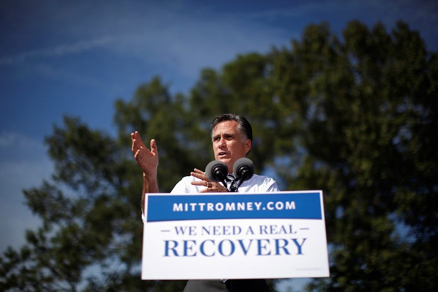 Republican presidential candidate Mitt Romney speaks Oct. 17, 2012, during a campaign stop at Tidewater Community College in Chesapeake, Va. (Associated Press)