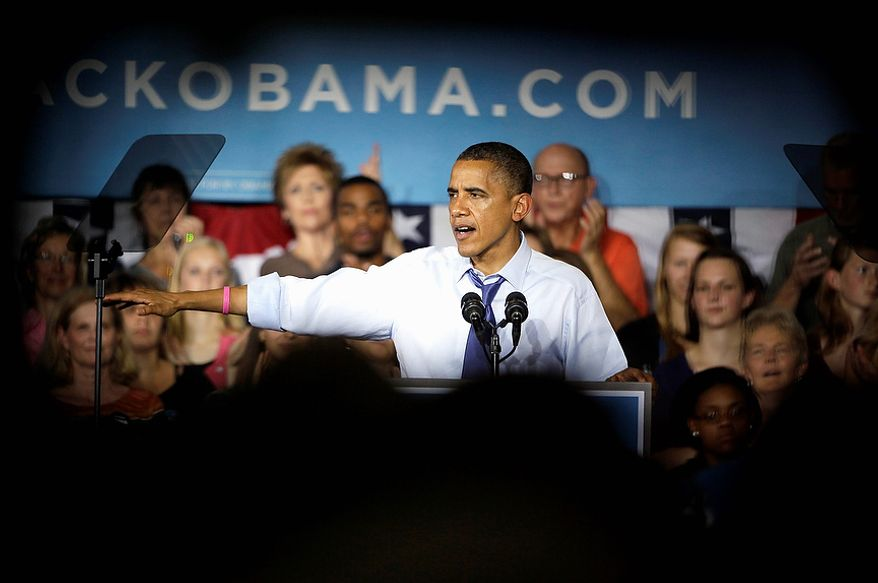 President Obama speaks Oct. 17, 2012, during a grassroots event at Cornell College in Mount Vernon, Iowa. (Associated Press)