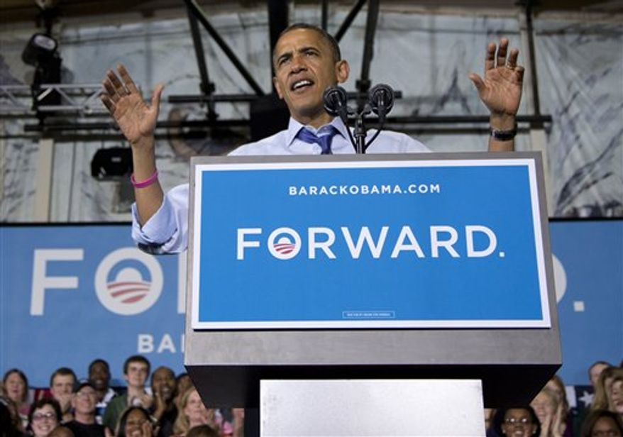 President Obama speaks at a campaign event at Cornell College, Wednesday, Oct. 17, 2012, in Mt. Vernon, Iowa. (AP Photo/Carolyn Kaster)