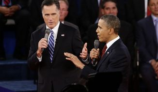 President Obama and Republican presidential candidate Mitt Romney participate in the second presidential debate, at Hofstra University in Hempstead, N.Y., on Tuesday, Oct. 16, 2012. (AP Photo/Charles Dharapak)