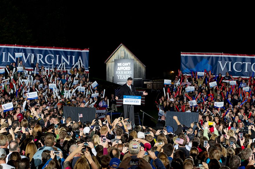 GOP presidential candidate Mitt Romney holds a rally at Ida Lee Park in Leesburg, Va. on Wednesday, Oct. 17, 2012. (Barbara L. Salisbury/The Washington Times)