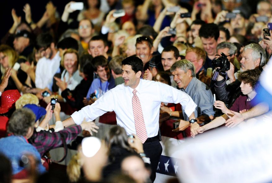 Republican vice presidential candidate Paul Ryan greets supporters while visiting the Fredericksburg Expo and Conference Center in Fredericksburg, Va., on Oct. 16, 2012. (Associated Press/The Free Lance-Star)
