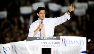 Republican vice presidential candidate Paul Ryan visits the Fredericksburg Expo and Conference Center in Fredericksburg, Va., on Oct. 16, 2012. (Associated Press/The Free Lance-Star)