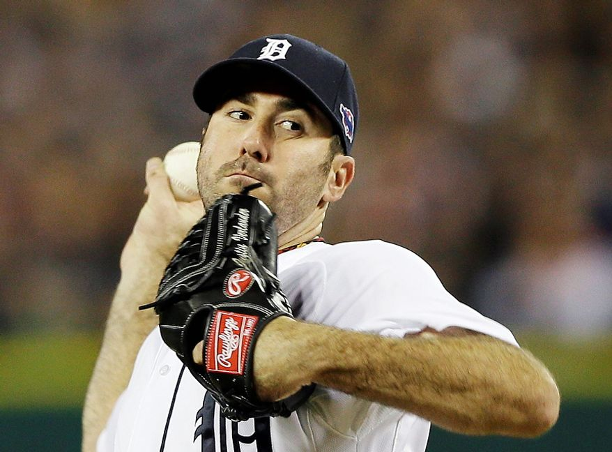 Detroit Tigers' Justin Verlander throws in the second inning during Game 3 of the American League championship series against the New York Yankees Tuesday, Oct. 16, 2012, in Detroit. (AP Photo/Matt Slocum)