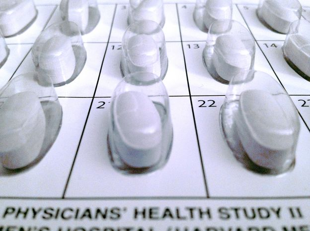 A monthly calendar vitamin pack used in a long-term study on multivitamins is seen here on Oct.