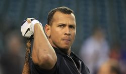 **FILE** New York Yankees' Alex Rodriguez takes batting practice before Game 4 of the American League Championship Series against the Detroit Tigers on Oct. 17, 2012, in Detroit. (Associated Press)