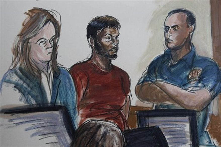 This courtroom sketch shows Quazi Mohammad Rezwanul Ahsan Nafis, 21, center, and his attorney Heidi Cesare, left, in Brooklyn Federal Court Wednesday, Oct. 17, 2012, in New York. Nafis was arrested in a sting operation Wednesday morning after he parked a van filled with what he believed were explosives outside the building and tried to detonate it in a suicide mission, authorities said. (AP Photo/Elizabeth Williams)