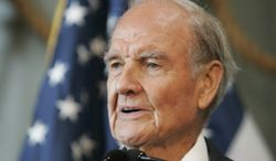 Former Sen. George McGovern delivers remarks at the National World War II Museum in New Orleans in 2009. (Associated Press)