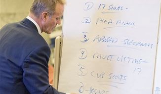 ** FILE ** This April 8, 2010, file photo shows Kelly Clark, attorney for the Portland man who filed a sex abuse lawsuit against the Boy Scouts of America, using a chart during his closing statements in the Multnomah County Courthouse in Portland, Ore. (AP Photo/The Oregonian, Brent Wojahn, Pool, File)
