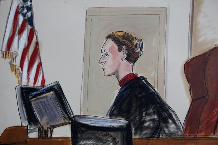 "This courtroom sketch shows Judge U.S. Magistrate Judge Roanne Mann in Brooklyn Federal Court in New York on Wednesday, Oct. 17, 2012 during a hearing for Quazi Mohammad Rezwanul Ahsan Nafis. The Bangladeshi man who came to the United States to wage jihad was arrested in an elaborate FBI sting on Wednesday after attempting to blow up a fake car bomb outside the Federal Reserve building in Manhattan, authorities said. Before trying to carry out the alleged terrorism plot, Nafis went to a warehouse to help assemble a 1,000-pound bomb using inert material, according to a criminal complaint. He also asked an undercover agent to videotape him saying, ""We will not stop until we attain victory or martyrdom,"" the complaint said. (AP Photo/Elizabeth Williams)"