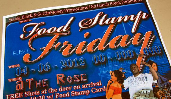"A photo shows a brochure promoting the Food Stamp Friday event at the Rose Supper Club in Montgomery, Ala., Friday, March 30, 2012. The club will start ""Food Stamp Friday"" theme nights in April. Manager Harman Wilson says the night is meant to complement the club's other theme nights, such as Fat Tuesday, Karaoke Wednesday or Thirsty Thursday. Wilson says patrons will not be able to use their food stamps to purchase alcoholic beverages. He says he hopes the novel approach will draw people to the club. (AP Photo/Dave Martin)"