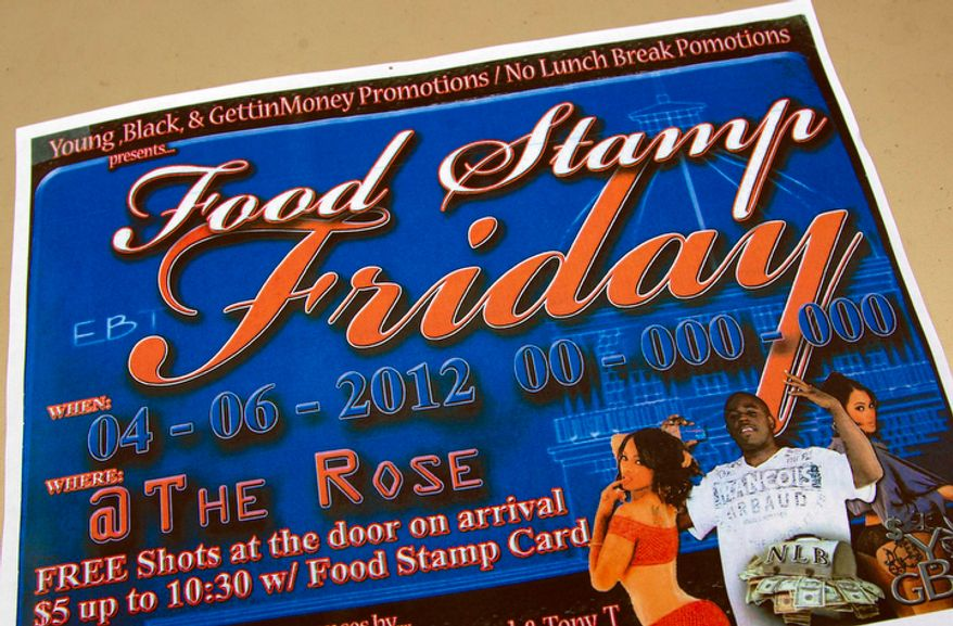 """A photo shows a brochure promoting the Food Stamp Friday event at the Rose Supper Club in Montgomery, Ala., Friday, March 30, 2012. The club will start """"Food Stamp Friday"""" theme nights in April. Manager Harman Wilson says the night is meant to complement the club's other theme nights, such as Fat Tuesday, Karaoke Wednesday or Thirsty Thursday. Wilson says patrons will not be able to use their food stamps to purchase alcoholic beverages. He says he hopes the novel approach will draw people to the club. (AP Photo/Dave Martin)"""