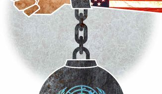 Illustration U.N. Weight by Greg Groesch for The Washington Times