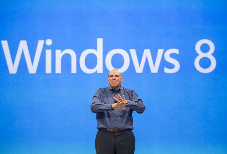 FILE - In this Monday, June 18, 2012, file photo, Microsoft CEO Steve Ballmer comments on the Windows 8 operating system. The PC industry is in a slump, as consumers show more interest in tablet computers and smartphones. Officially, PC makers say they expect Windows 8, which launches Oct. 26, 2012, to get buyers to open their wallets, but industry watchers and analysts are skeptical. (AP Photo/Damian Dovarganes, File)