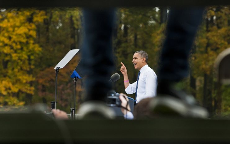 President Obama speaks during a Oct. 19, 2012, campaign event at George Mason University in Fairfax, Va. (Craig Bisacre/The Washington Times)