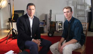 """ABC News' Chris Cuomo (left) sits with Aaron Fisher, 18, during an interview airing Oct. 19, 2012, on the ABC news magazine show """"20/20."""" Fisher is victim of former Penn State assistant football coach and Jerry Sandusky, who was convicted of child sexual abuse. (Associated Press/ABC News)"""