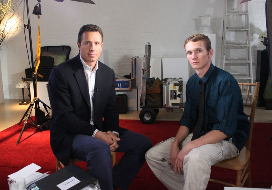 "ABC News' Chris Cuomo (left) sits with Aaron Fisher, 18, during an interview airing Oct. 19, 2012, on the ABC news magazine show ""20/20."" Fisher is victim of former Penn State assistant football coach and Jerry Sandusky, who was convicted of child sexual abuse. (Associated Press/ABC News)"