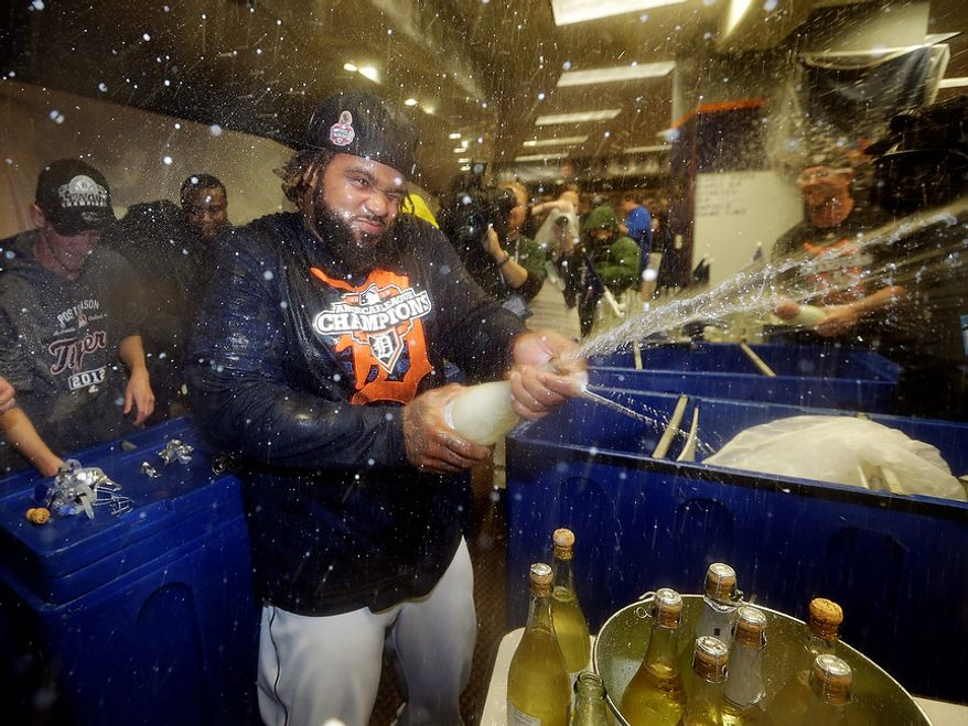 Detroit Tigers 1B Prince Fielder celebrates in the locker room after his team won Game 4 of the American League Championship Series, 8-1, against the New York Yankees on Oct. 18, 2012, in Detroit. The Tigers move on to the World Series. (Associated Press)