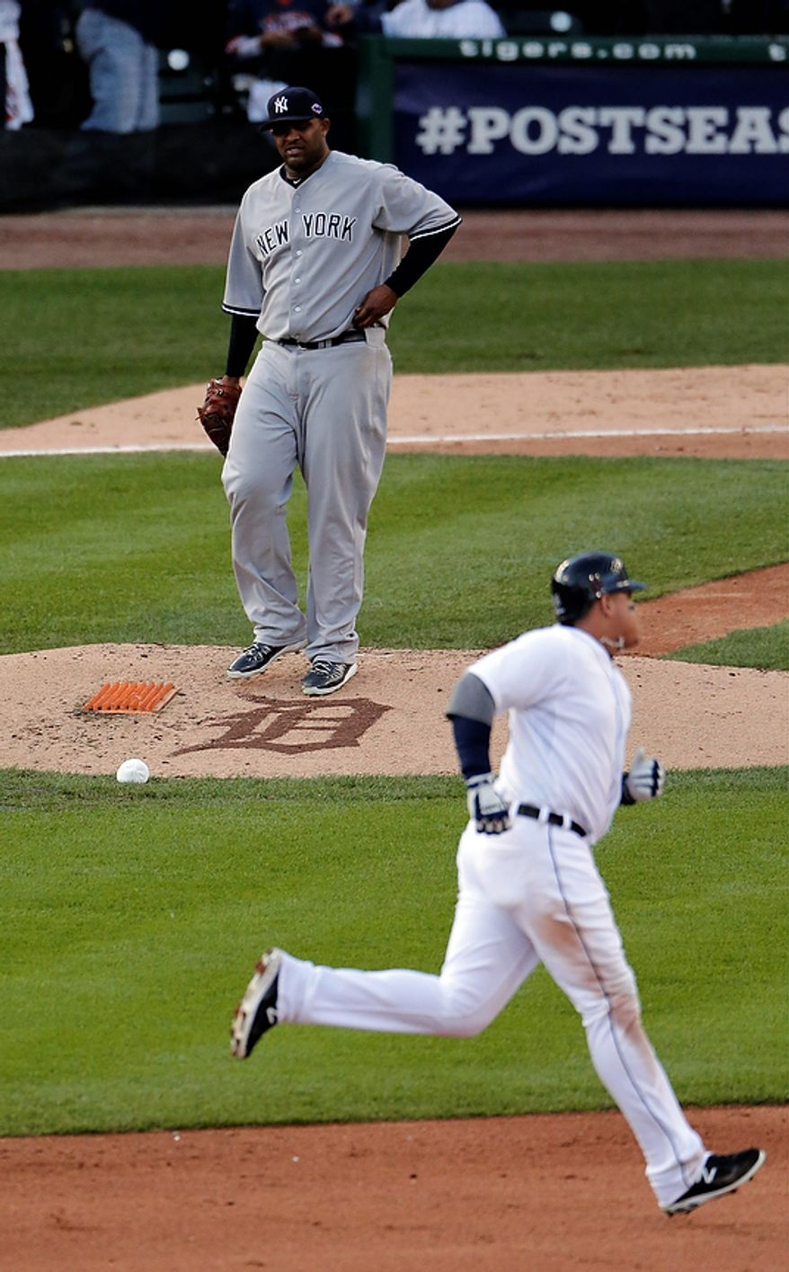 New York Yankees pitcher CC Sabathia watches after the Detroit Tigers' Miguel Cabrera hits a two-run home run in the fourth inning of Game 4 of the American League Championship Series on Oct. 18, 2012, in Detroit. (Associated Press)