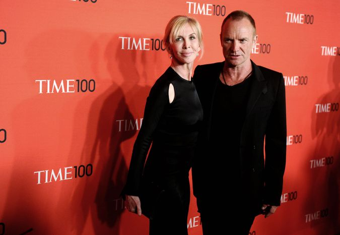 "** FILE ** Musician Sting and his wife Trudie Styler attend the Time 100 Gala, celebrating the 100 most influential people in the world, on in this April 26, 2011 file photo, in New York. Sting moved the location of his ""Back to Bass Tour"" concert Saturday Oct. 20, 2012 in the Philippines following a petition by environmentalists who said the original venue is owned by a conglomerate that plans to uproot 182 trees for a parking lot and mall expansion in a northern mountain city. (AP Photo/Peter Kramer, FILE)"
