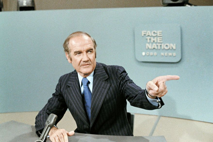 "In this photo taken May 28, 1972, U.S. Sen. George McGovern, D-S.D., is shown on TV 's ""Face the Nation"".  A family spokesman says, McGovern, the Democrat who lost to President Richard Nixon in 1972 in a historic landslide, has died at the age of 90. (AP Photo/Jeff Robbins, File)"
