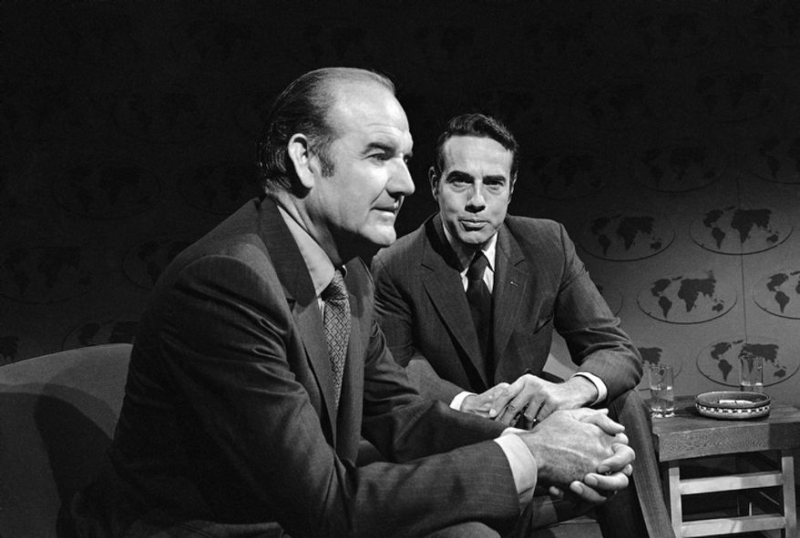 "In this Aug. 23, 1970 file photo, Sens. George McGovern, D-S.D. left, and Robert Dole, R-Kan., are interviewed on ABC's ""Issues and Answers"" in Washington. A family spokesman says, McGovern, the Democrat who lost to President Richard Nixon in 1972 in a historic landslide, has died at the age of 90. According to the spokesman,  McGovern died Sunday, Oct. 21, 2012 at a hospice in Sioux Falls, surrounded by family and friends. (AP Photo/ABC Television, File)"