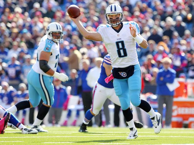 Tennessee Titans quarterback Matt Hasselbeck (8) passes against the Buffalo Bills during the first half of an NFL football game in Orchard Park, N.Y.,  Sunday, Oct. 21, 2012. (AP Photo/Bill Wippert)