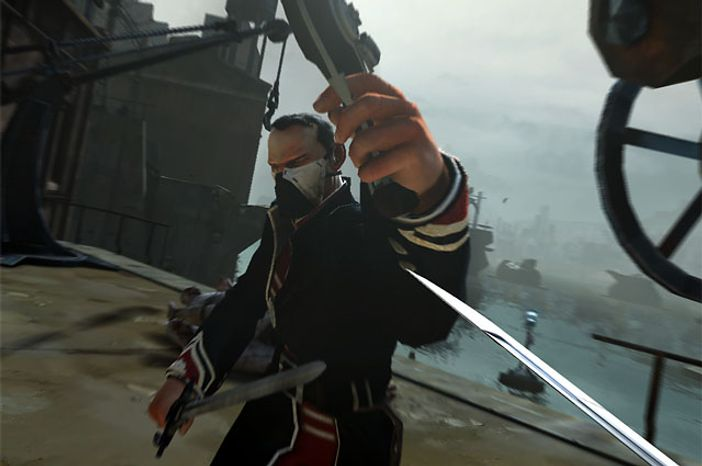 Fight with a sword and pistol in the video game Dishonored.