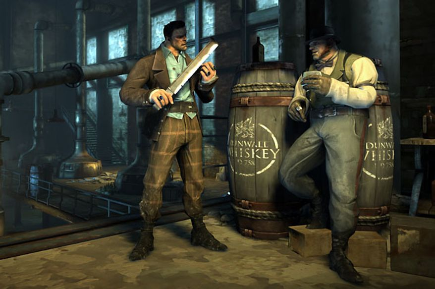 Thugs protect the Distillery in the video game Dishonored.