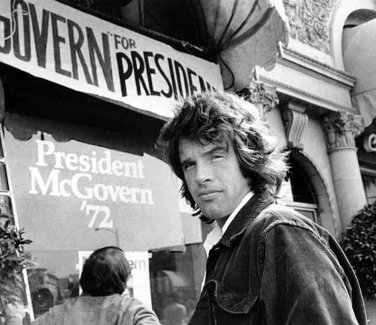 Actor Warren Beatty, one of the many stars who campaigned for Sen. George McGovern in 1972, stands outside the South Dakota senator's headquarters in Beverly Hills, Calif. (Associated Press)